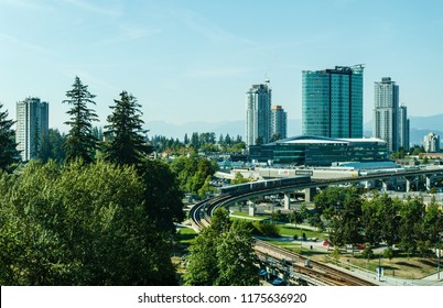 Surrey, Canada September 5, 2018: Modern buildings and infrastructure City Centre Greater Vancouver area.