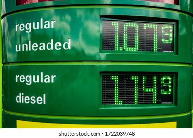 SURREY, UK- 4th MAY, 2020: Low fuel price at a BP filling station during the Coronavirus pandemic.