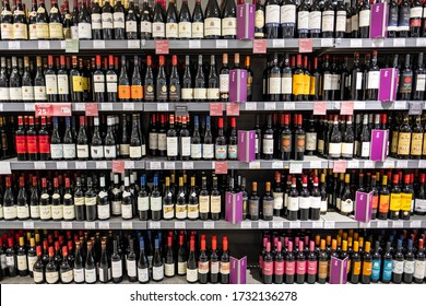 SURREY, UK- MAY, 2020: Large choice of Italian wine on Waitrose supermarket shelf