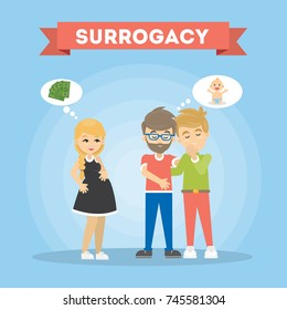 Surrogacy illustration concept. Gay family wait for a baby with surrogate mother.