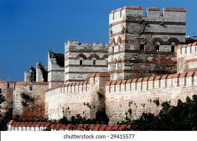 Surrounding wall of ancient city Constantinople, Istanbul, Turkey