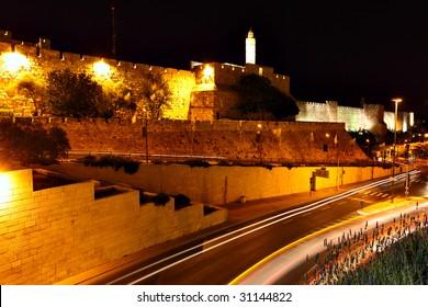 The surrounding wall of Old city at night. Jerusalem, Israel
