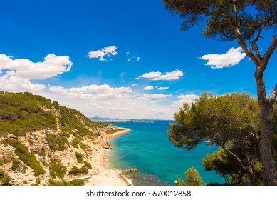 Surroundings of Salou - coast, Tarragona, Catalunya, Spain. Copy space for text
