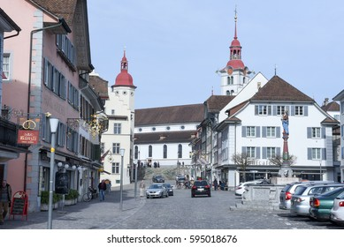 Sursee, Switzerland - 4 March 2017: medieval houses of the village of Sursee on Switzerland