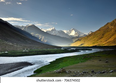 suru river and big mountain background ,Kargil ,Jammu and Kashmir,India.