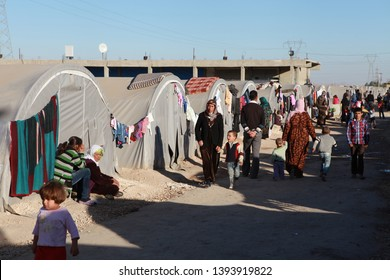 SURUC, TURKEY- Syrian Kurds fleeing the town of Kobane in fear of an Islamic State attack, stay at the Municipality of Suruc Tent City. November 7, 2014