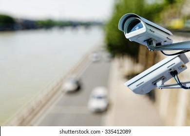 surveillance camera above a road
