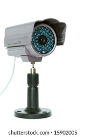 Surveillance camera isolated on white background - clipping path included