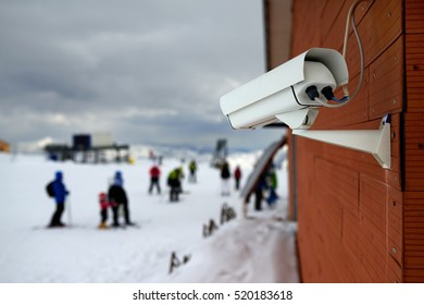 surveillance camera in the mountains ski resort.