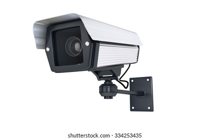 Surveillance Camera on white background. clipping path