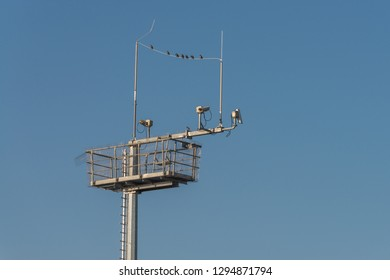 Surveillance cameras and antennas on a steel pole, Germany