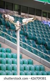 Surveillance cameras controlling stadium