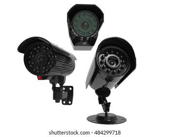 Surveillance cameras - covering all angles - 3D Render