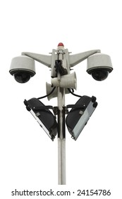 Surveillance Cameras mounted on a pole isolated on white background.