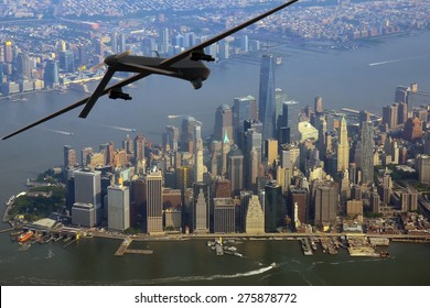 Surveillance drone on patrol over New York City, USA