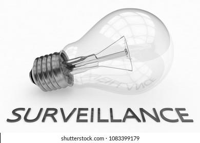Surveillance - lightbulb on white background with text under it. 3d render illustration.