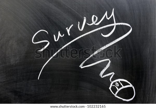 Survey and mouse sign drawn on chalkboard