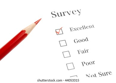 Survey Questionnaire with Red Pencil and Check Mark