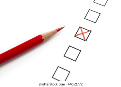 Survey Questionnaire with Red Pencil and X