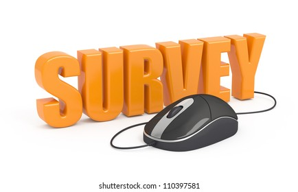 Survey word and computer mouse. 3d illustration.