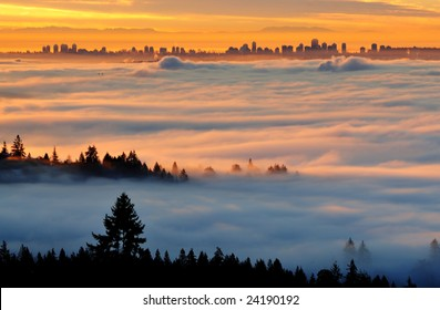 Surveying Downtown Vancouver from Cypress Lookout in Foggy Morning