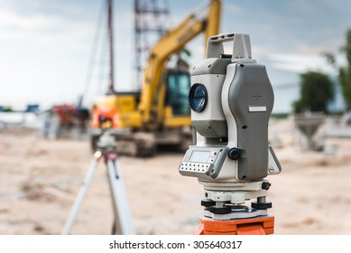 Surveyor equipment for line checking or theodolite outdoors at construction site