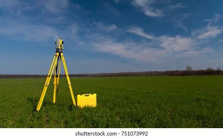 Surveyor equipment theodolite on tripod