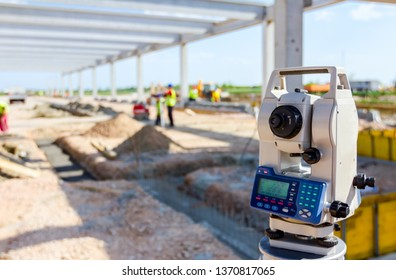 Surveyor instrument is for measuring level on construction site. Surveyors ensure precise measurements before undertaking large construction projects.