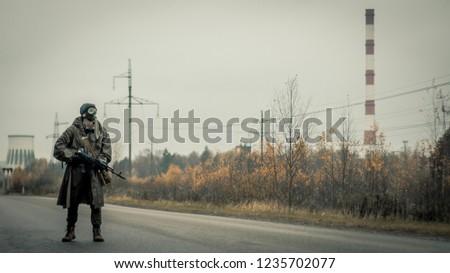 Survivor soldier in gas