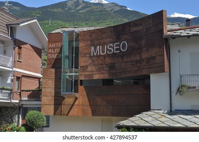 SUSA, ITALY - CIRCA MAY 2016: Museo Diocesano meaning Diocesan Museum (with text Arte Alpi Sacro meaning Arts Alps Sacred)