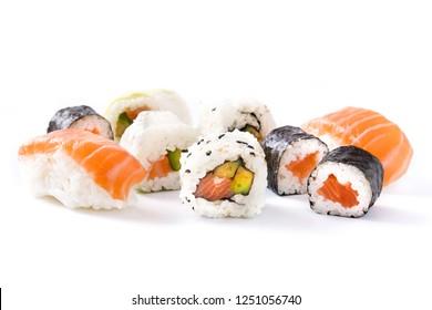 sushi assortment  isolated on white background