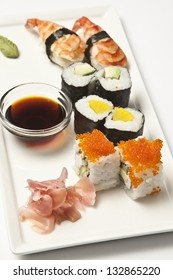 Sushi assortment on a white plate