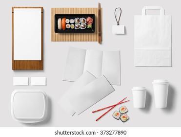 sushi bar corporate branding identity template design set. Take away mock up