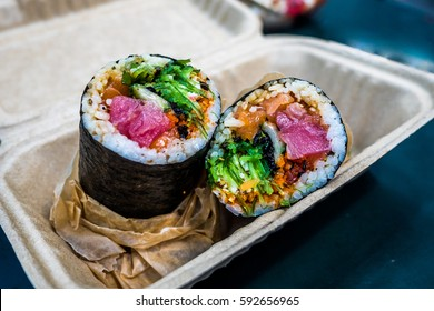 Sushi burrito is a new fusion Japanese food with modern society, which created an amazing taste and texture. It is being serve as one of the most famous dish in New York city that everybody should eat
