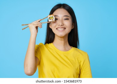 Sushi chopsticks beauty seafood rice pretty woman