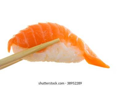Sushi and chopsticks isolated on white. Super clean white background