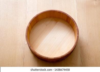 Sushi chopsticks, wooden tub, japanese food, background