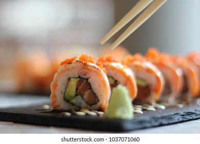 Sushi Close up on Table