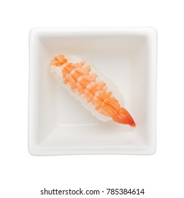 Sushi - Ebi nigiri in a square bowl isolated on white background