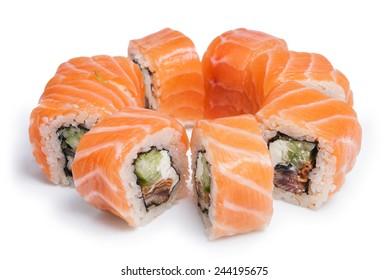 Sushi Filadelfia maki on white background