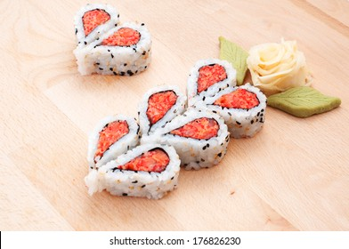 Sushi forming hearts and flower shapes