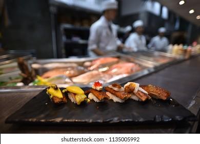 sushi freshwater eel grilled. Japanese food for healthy. unagi sushi, premium sushi menu