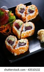 sushi heart shaped