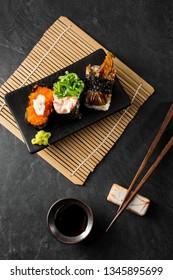sushi ,japan food on black table
