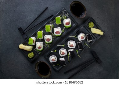 Sushi, japanese food, deluxe restaurant menu, delicious traditional seafood. Maki rolls with tuna and caviar