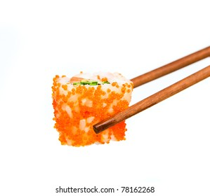 Sushi. Japanese rice, raw fish and seafood