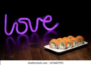 Sushi love backlight neon tree