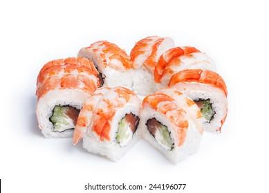 Sushi maki with fresh salmon on white background