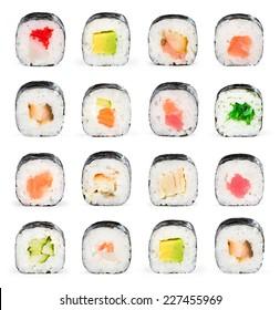 Sushi maki isolated on white background for menu