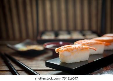 Sushi maki and nigiri; Sushi shrimp tempura